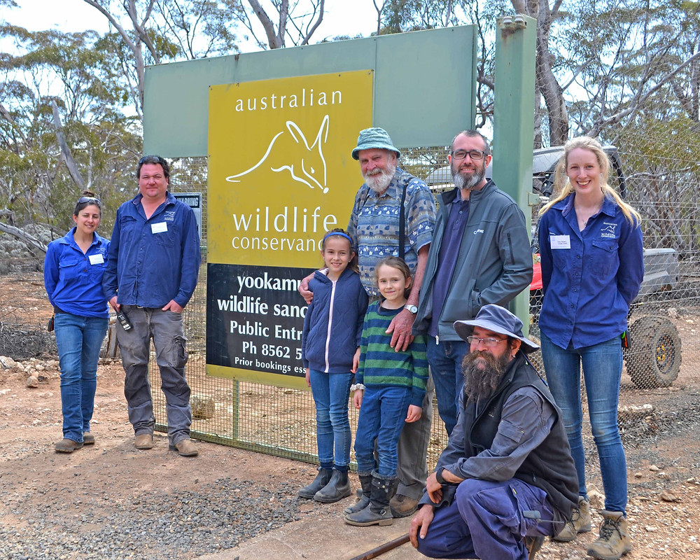 © Melissa Elderfield/AWC - Dr John Wamsley and his family attend Yookamurra's September 2019 open day. Left to right: Helen Crisp, AWC Senior Field Ecologist/Wildlife Educator; Tyson Brown, AWC Yookamurra Sanctuary Manager; Matilda Wamsley; John Wamsley; River Wamsely; Shane Wamsley; Spike Peek, AWC Yookamurra Land Management Officer; Emily Hegarty, AWC Yookamurra Interpretations Intern.