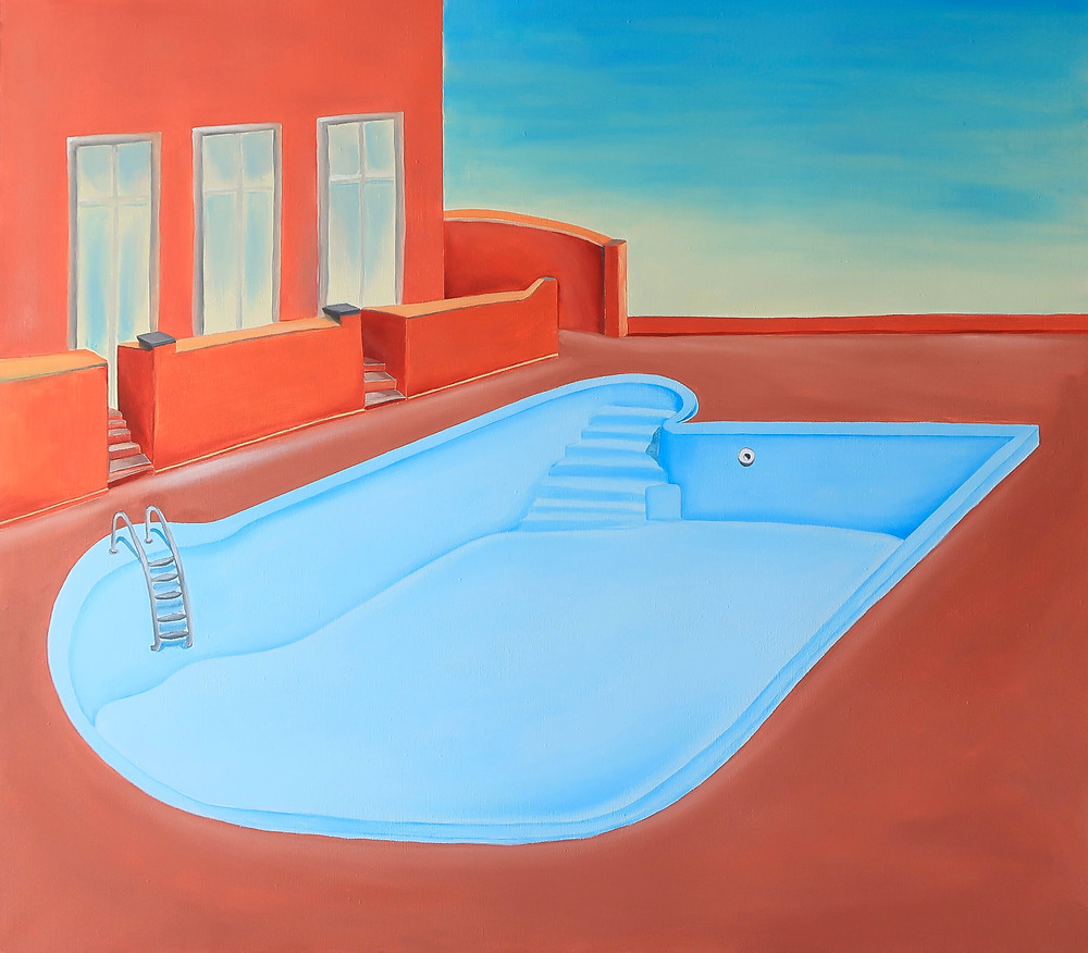 swimming pool oil painting