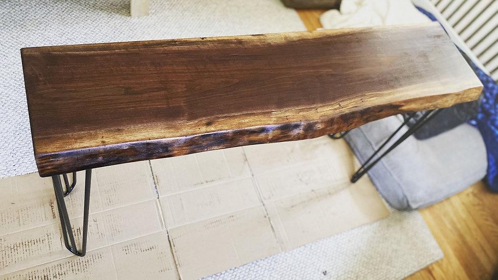 Rustic Black walnut hallway table - live edge