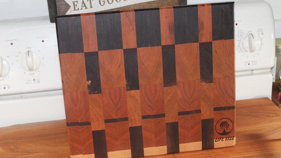 Black Walnut, Cherry, Maple Endgrain Cutting Board - Premium Hardwood #64