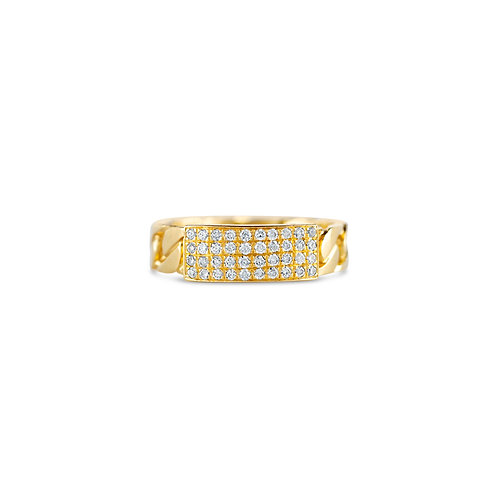 Pave Curb Link Ring