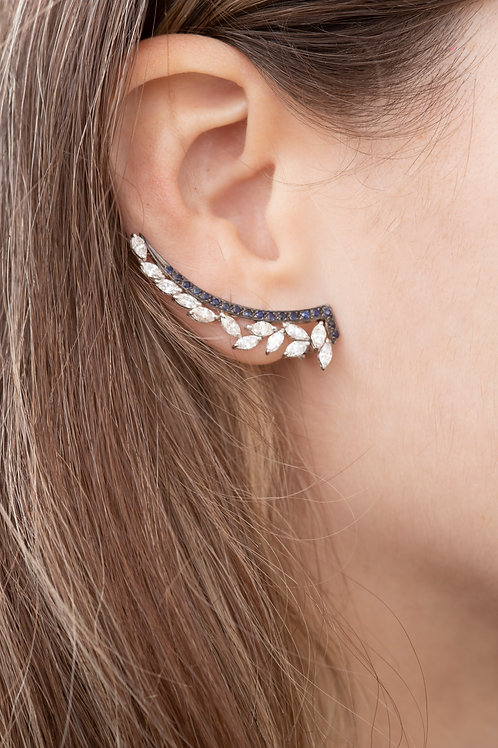 Navy Diamond Ear Crawler