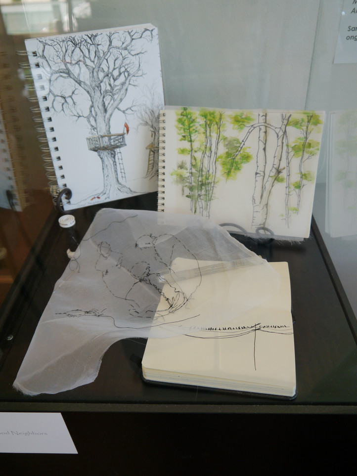 sketches with pen, sill and thread