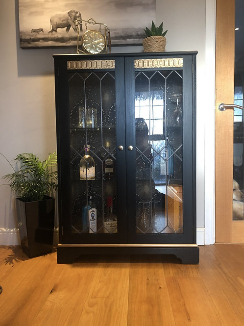 "Cornish Milk Paint ""Black Rock"" with gold - Beaux Arts Gin Cabinet"