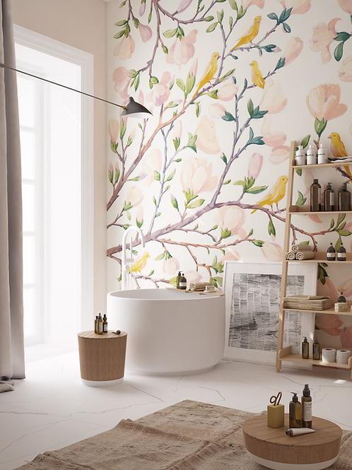 Обои Магнолии, wallpaper bathroom The O, обои для ванной