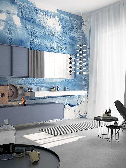 Обои Акватипия синяя , wallpaper bathroom The O, обои для ванной