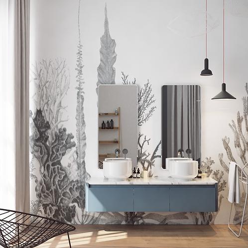 Обои Ботаника BW, wallpaper bathroom The O, обои для ванной