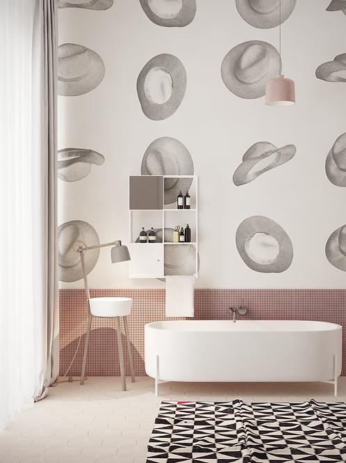 Wallpaper felt hats, bathroom wallpaper The O, bathroom wallpaper