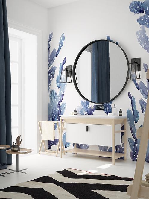 Синие Обои Кактусы, wallpaper bathroom The O, обои для ванной