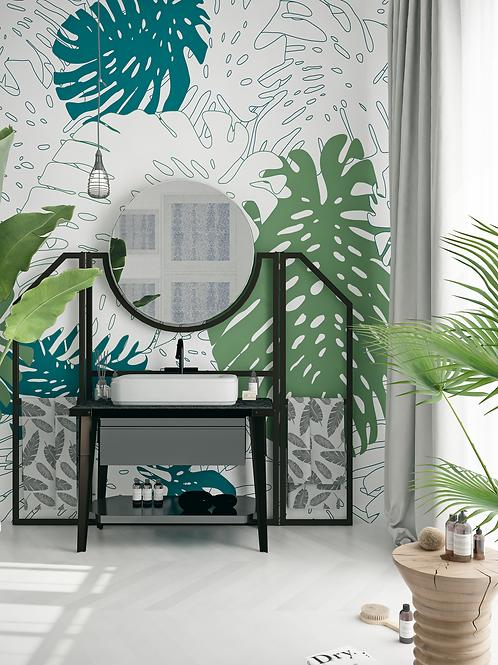Monstera wallpaper, The O bathroom wallpaper, bathroom wallpaper
