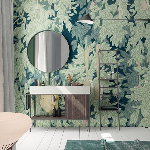 Обои густая листва, wallpaper bathroom The O, обои для ванной