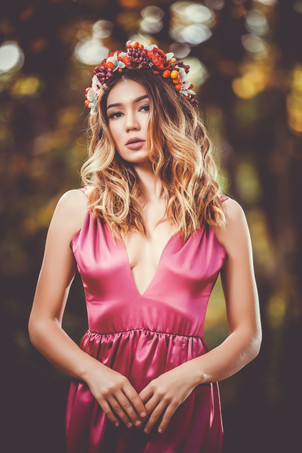 femme couronne fleurs bohème