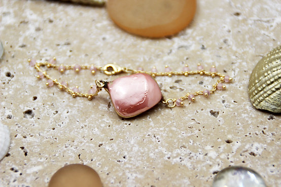 Bracelet chaîne GROSEILLE rose