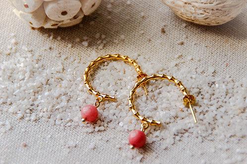 Créoles ouvertes BAMBOU opal rose