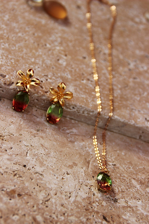 Collier DITA rouge vert