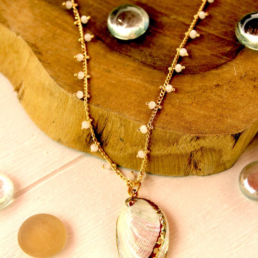 collier bohème coquillage perles Dina