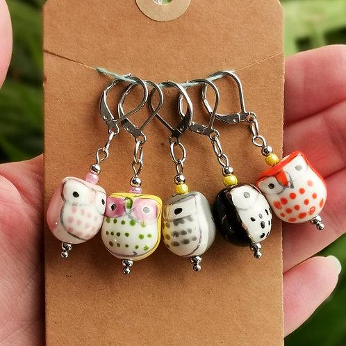 Ceramic Owl Stitch Markers - Set of 5