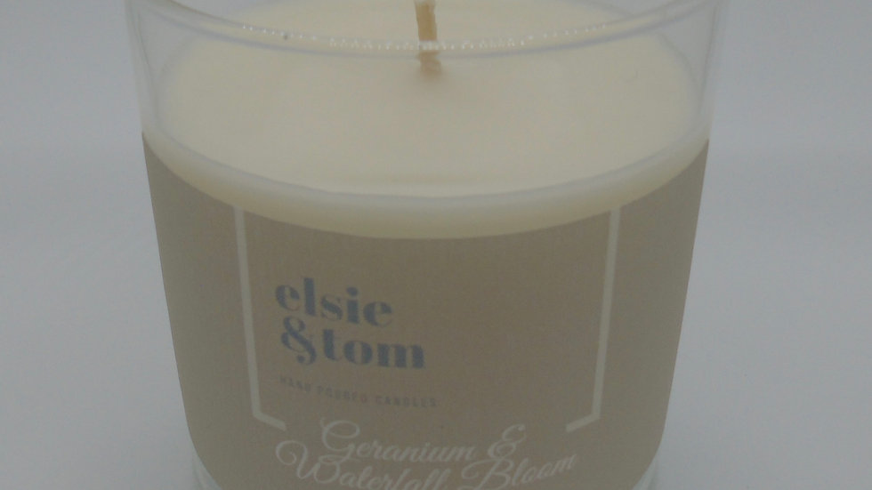 Geranium and Waterfall Bloom Essential Oil Soy Candle