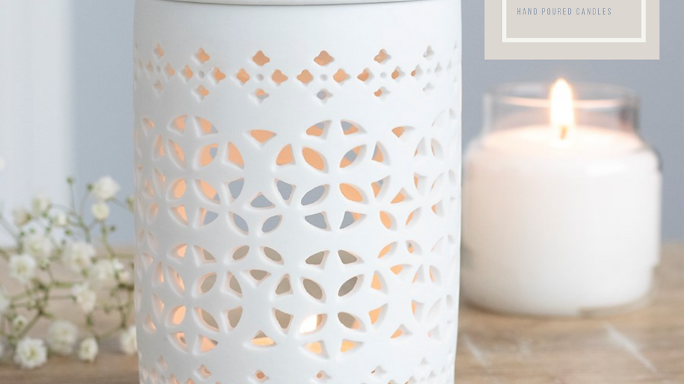 White Cut Out Ceramic Oil/Wax Melt Burner