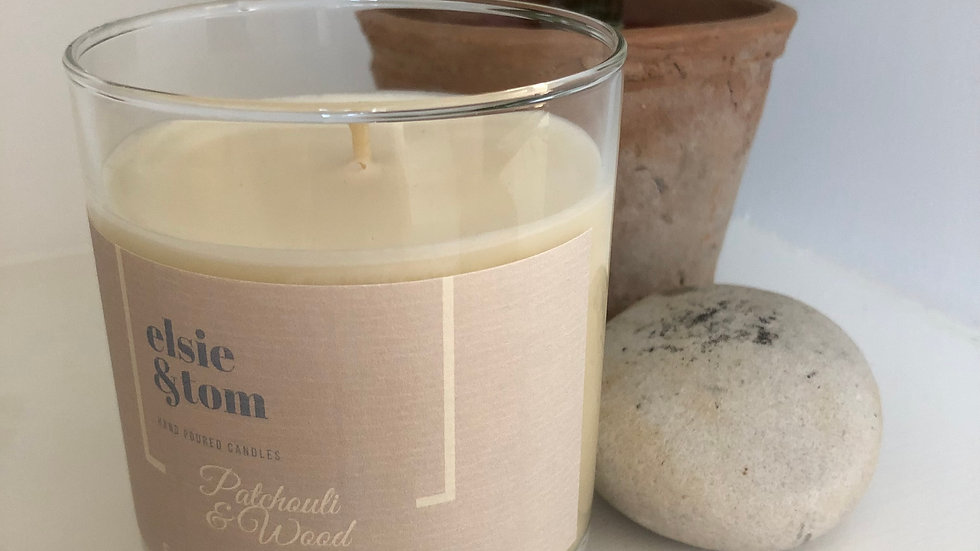 Patchouli & Wood Essential Oil Candle with Bamboo Lid