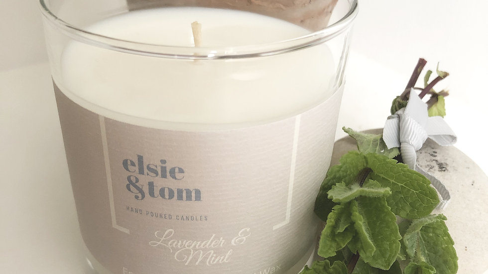 Lavender and Mint Essential Oil Candle