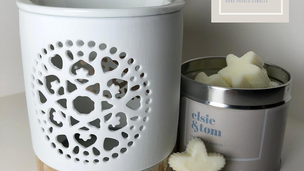 White Ceramic Mandela Design Oil/Wax Melt Burner
