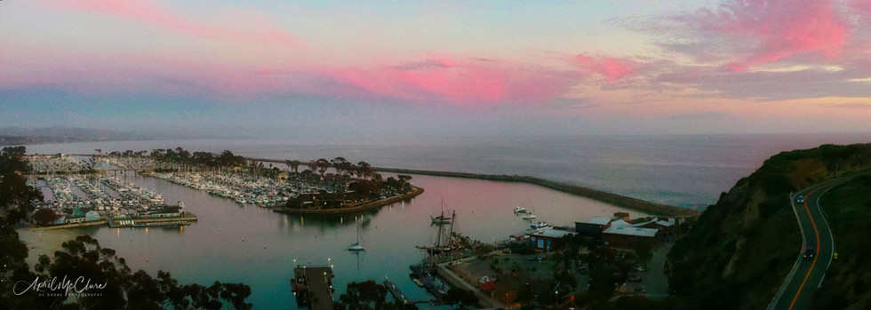 Aerial Drone Panorama of Dana Point Harbor in California
