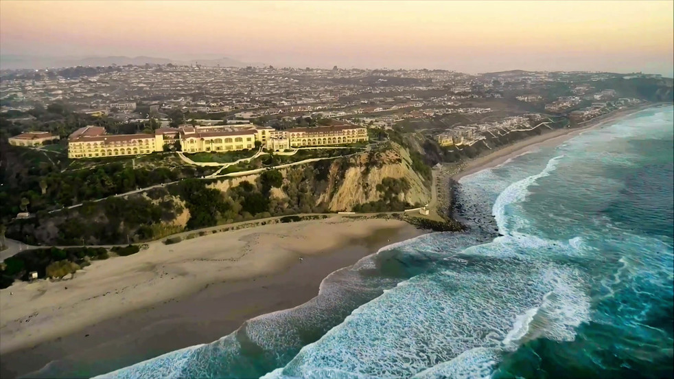 Salt Creek Beach in Laguna Niguel, CA, Aerial Photography and Drone Videography footage at sunset.
