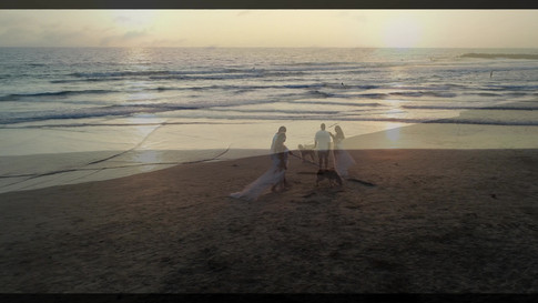 Aerial Drone Photography of a beach wedding couple in Newport Beach, CA