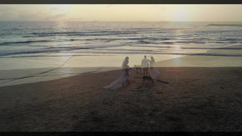 Aerial Drone Photography of a beach wedding couple in Newport Beach, CA