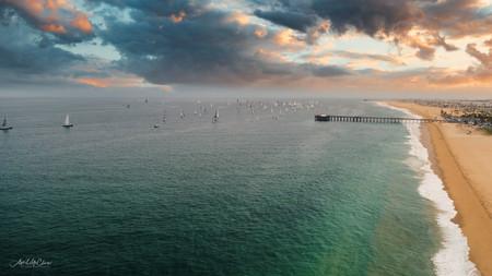 Summer Sunrise at the Beach, Aerial Photograph