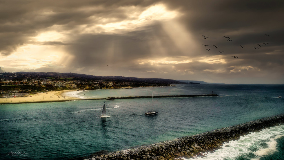 Dramatic Summer Cloud Cover at the Newport Beach Harbor Entrance Aerial Photograph