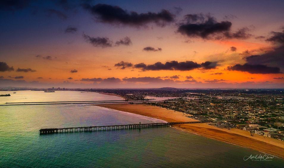 Seal Beach Coastline -Sunset Aerial Photograph