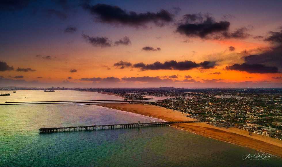 Seal Beach Coastline -Sunset Aerial Photograph