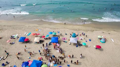 orange county drone photography of beach weddings