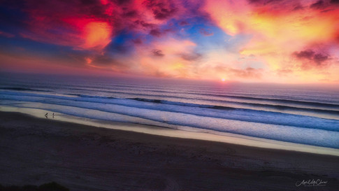 Vibrant Beach Sunset Arial Photograph