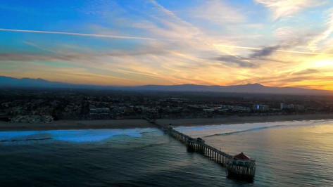 Huntington Beach at Sunrise Aerial Photography