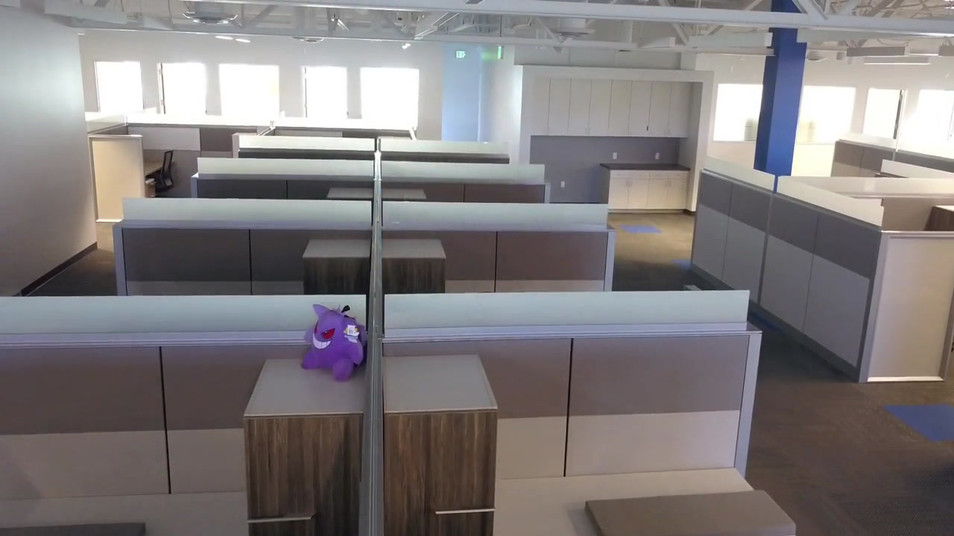 Aerial Photography of a commercial office building interior
