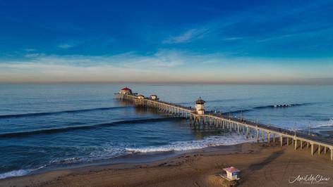 Sunrise in Huntington Beach Aerial Photogaph