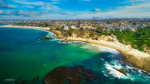 Orange county coastline, Corona Del Mar beach aerial drone photograph