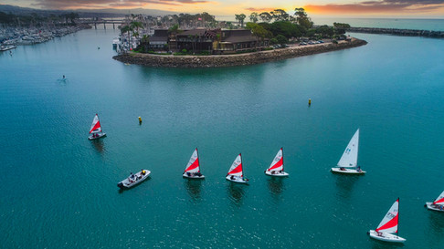 Dana Point Harbor, Junior Sailors on the water aerial, drone photograph