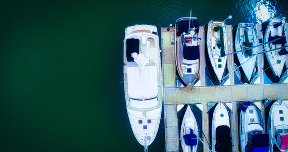 Birds-eye aerial view of a yacht for sale in Orange County, CA