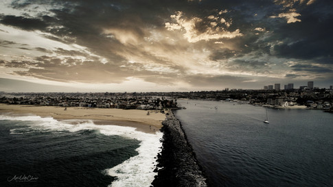 """Aerial Photograph of the Newport Beach """"Wedge"""" and Harbor Entrance"""