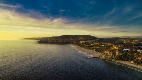 Orange County, California sunset coastline aerial photograph