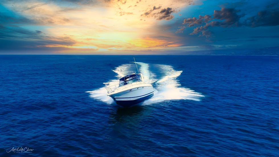 On-water action boat aerial videography and drone photography