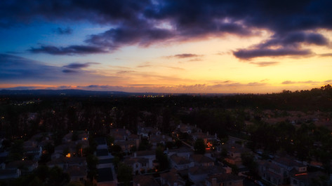 Sunset Aerial Drone Photograph of Tustin Ranch Neighborhood