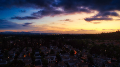 Suburban sunset in Orange County, California aerial drone photograph