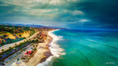 Doheny Beach Aerial Photography of a summer storm