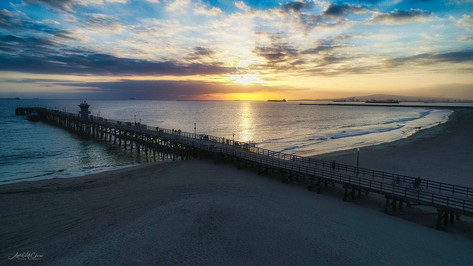 Seal Beach Pier at Sunset Aerial Photograph