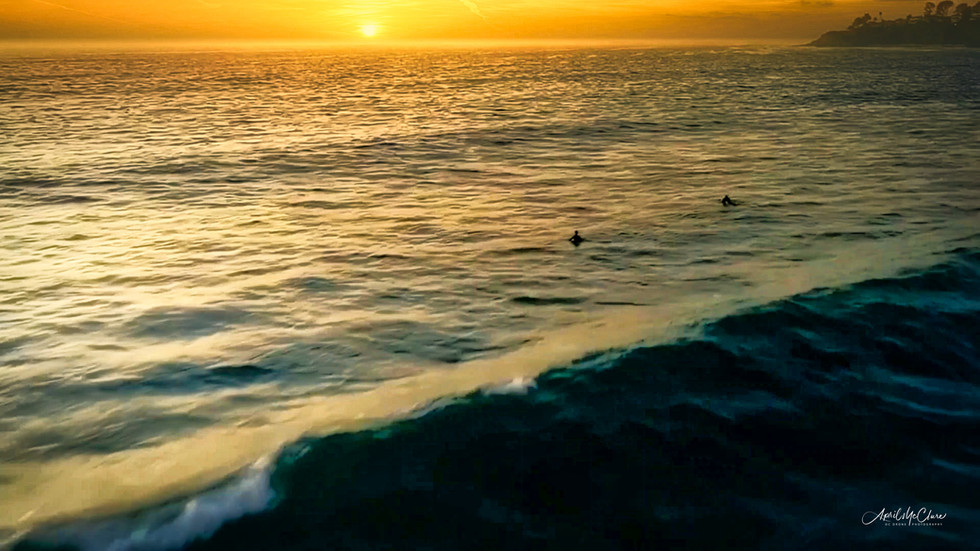 Sunset Surf Aerial Photograph